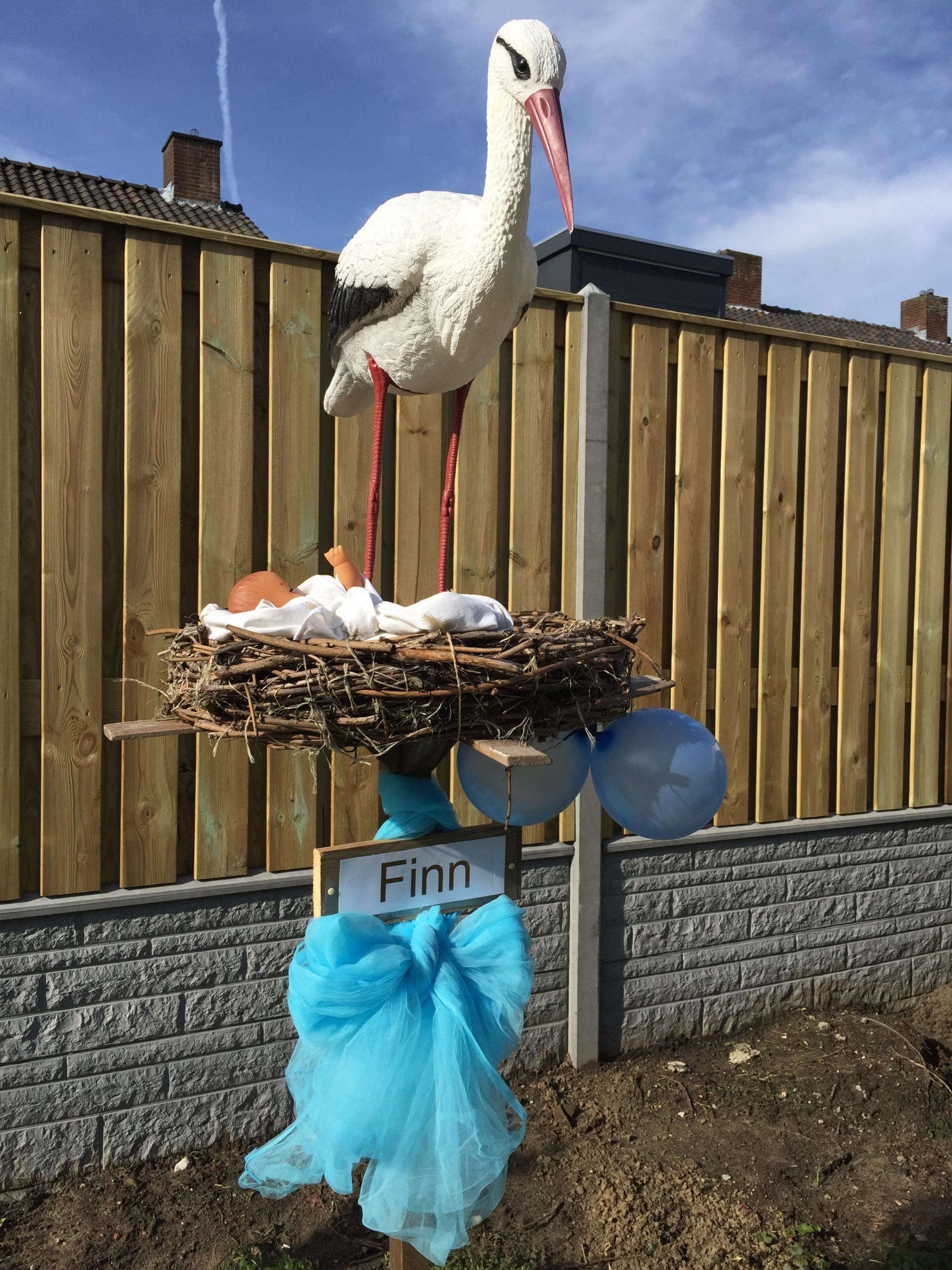 # 18 1 B Ooievaar op nest, liggende babym tule strik, 2 ballonnen