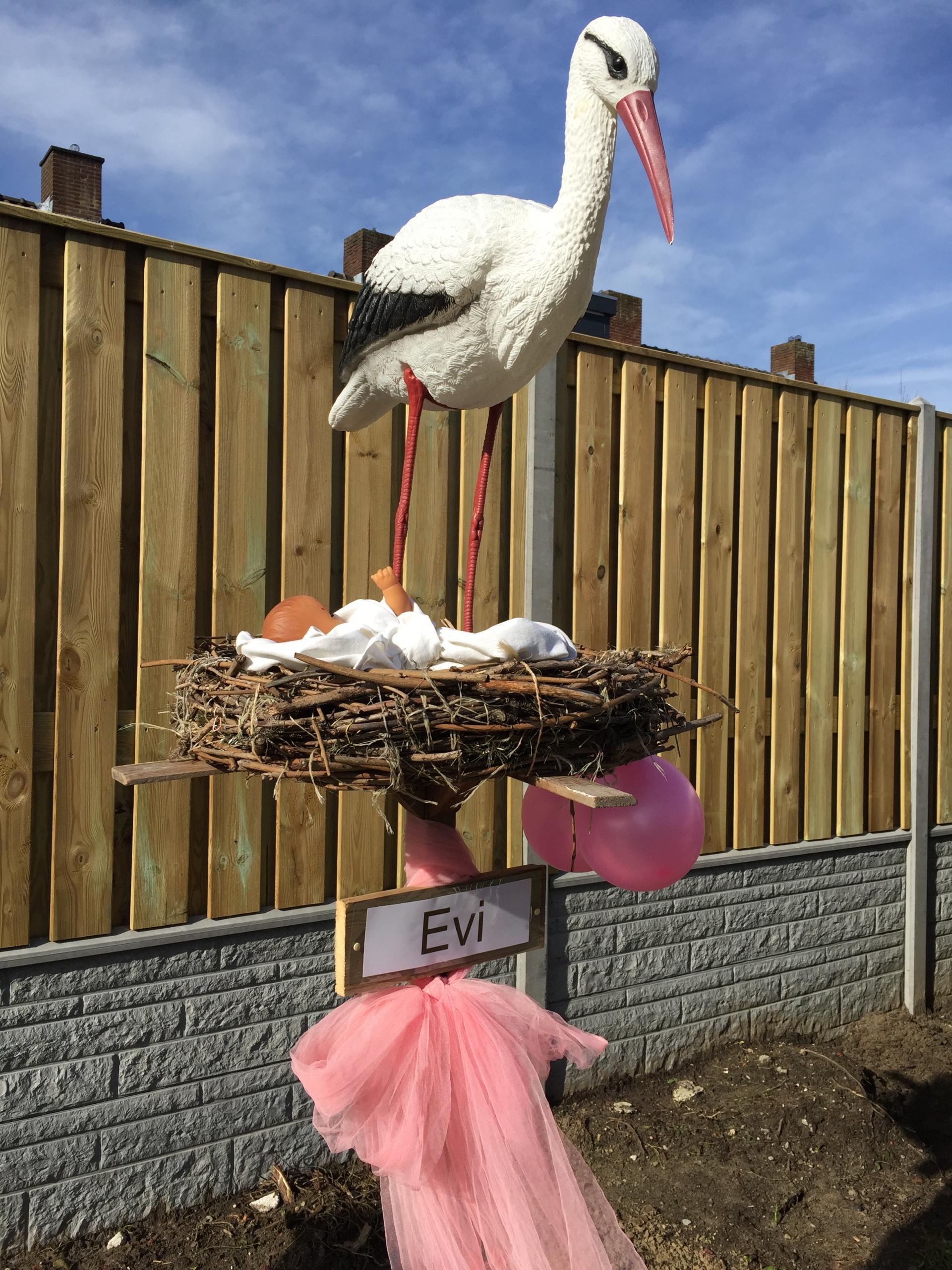 #18 1 R Ooievaar op nest, liggende baby, tule strik, 2 ballonnen