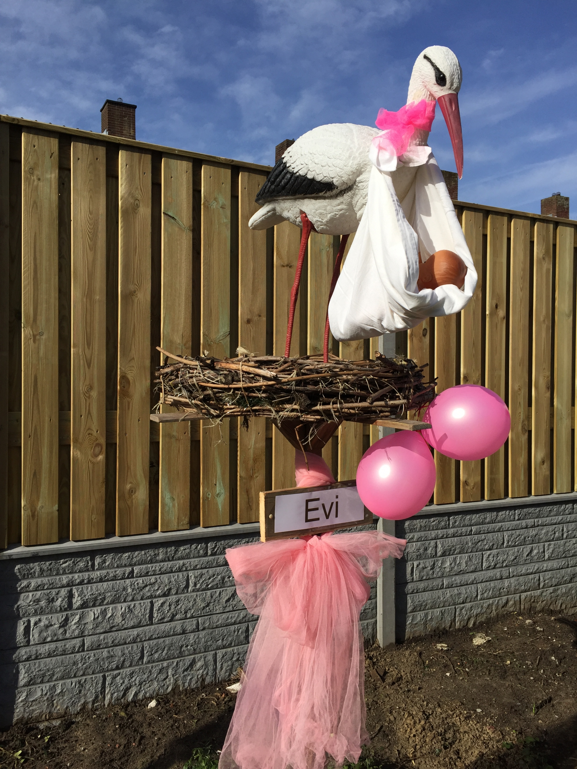 #18 2 R Ooievaar op nest, hangende baby, tule strik, 2 ballonnen